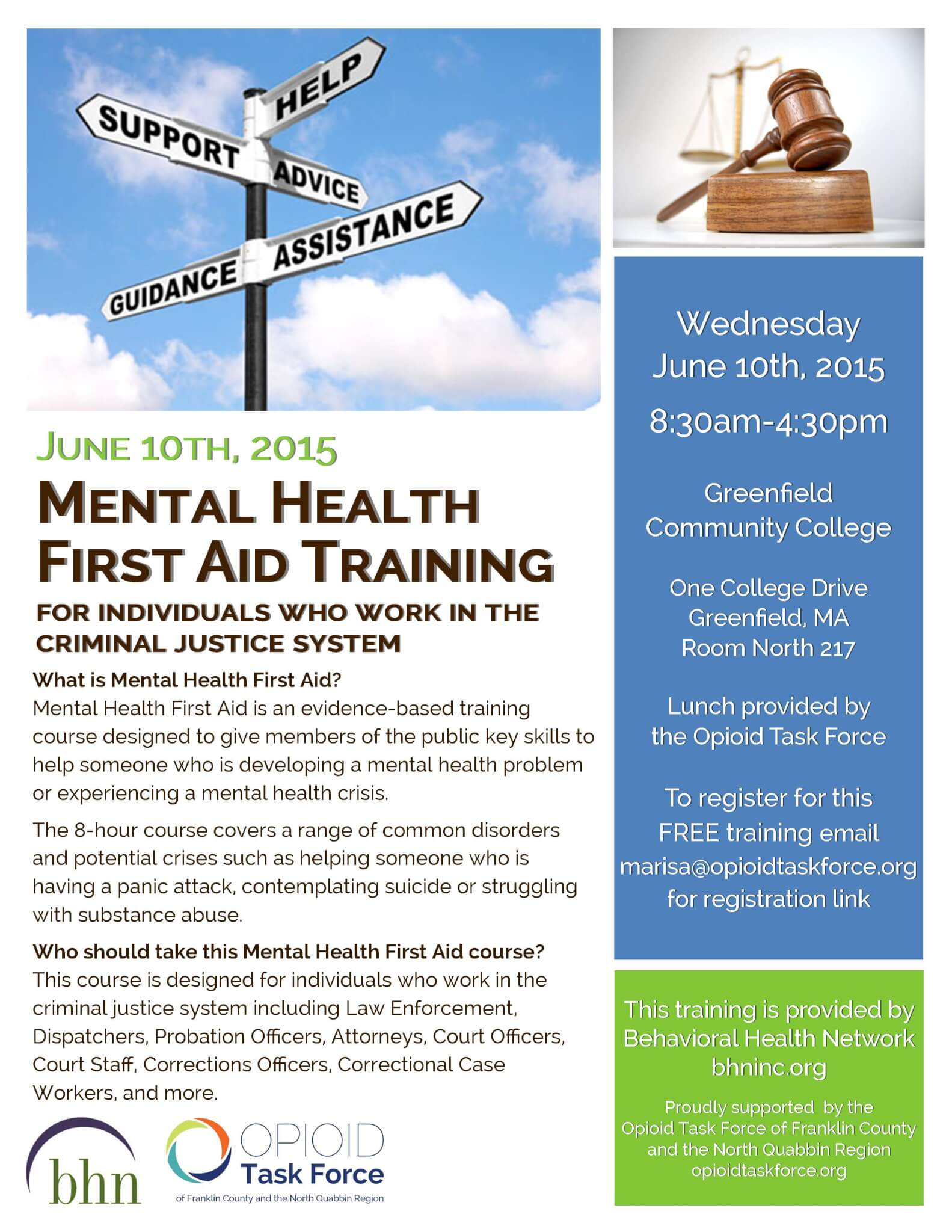 Mental Health First Aid Training for Criminal Justice Staff